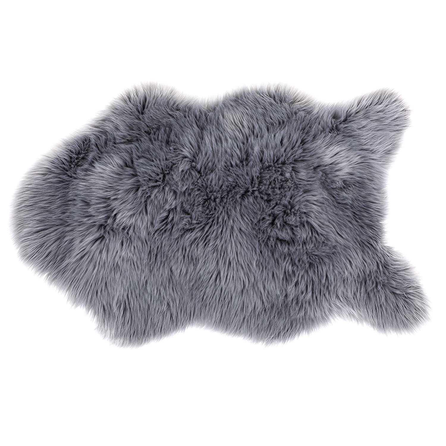 SONGMICS Super Soft Thick Faux Fur Rug, Faux Sheepskin Area Rug for Living Room Bedroom Dormitory Home Decor, Photo Prop, Diameter 3 Feet, Gray URFR91GY