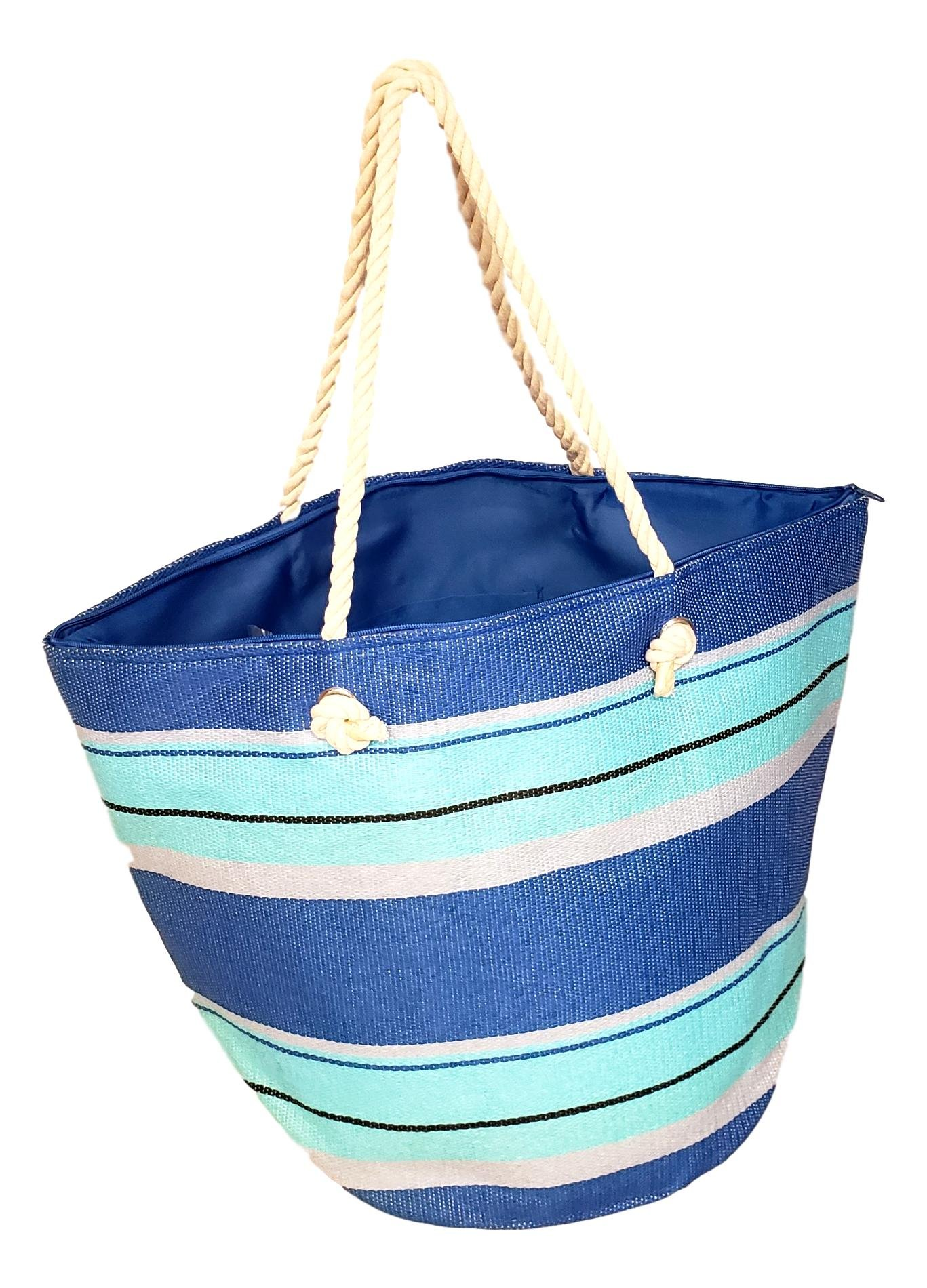 XL Hobo Bucket Striped Summer Womens Beach Bag Tote with Zipper Top (Turquoise - Blue Stripe)