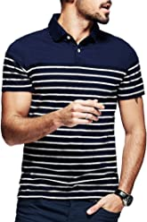 4f4024a304f0 Yong Horse Men s Polo Shirts Casual Striped 2 Button Placket Shirts Sleeve  Polo T-Shirt