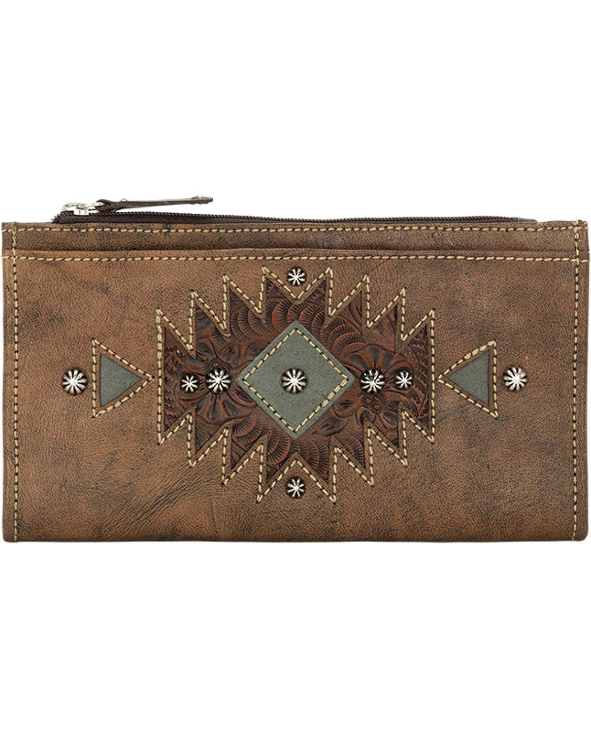 American West Women's Distressed Foldover Snap Closure Wallet Distressed One Size