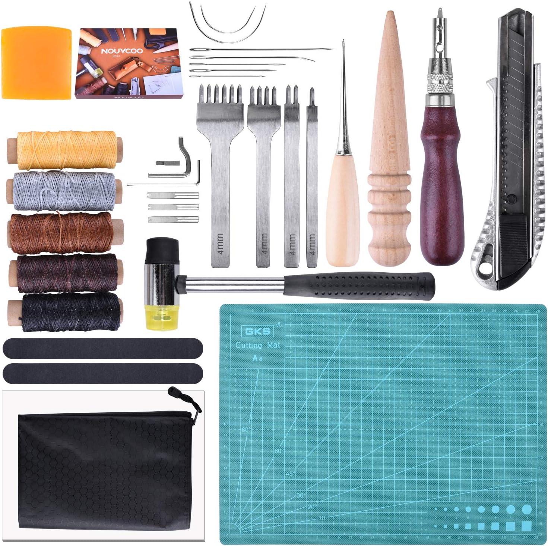 Kits de Repujado de Cuero 34 Piezas para DIY Costura del Cuero