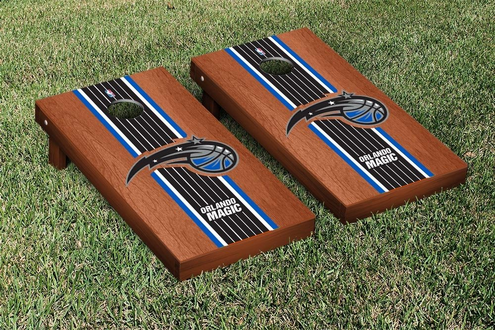 Orlando Magic NBA Basketball Cornhole Game Set Rosewood Stained Stripe Version by Victory Tailgate
