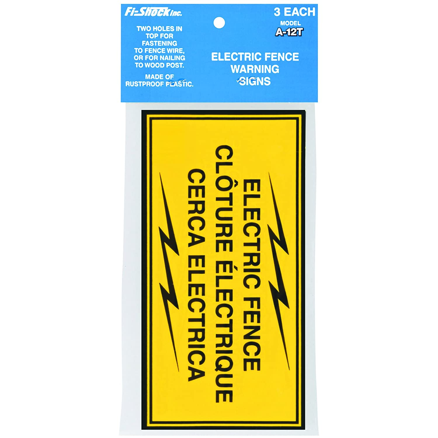 Fi-Shock A-12T 3-Pack Electric Fence Warning Signs 7137128