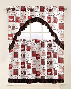 """Superior Home 3 Piece Kitchen Curtain Linen Set with 2 Tiers 28"""" W (Total Width 56"""") x 36"""" L and 1 Swag Valance 56"""" W x 36"""" L, Coffee Mocha Expresso Design White Kitchen Curtain Décor Linen"""