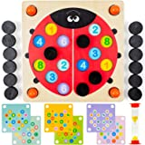 Memory Game for Fun Engaging Learning - 6 Different Games with Hourglass for Toddlers-Ladybug Montessori Toy for Endless Minu