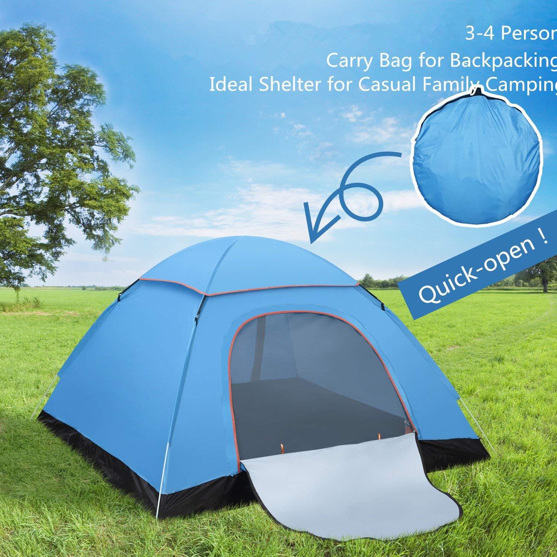 baut Sich Selbst auf,mit Netzstoff und Regenvordach FITFIRST Automatisches Wasserdichtes Zelt f/ür 3-4 Familien Camping Leicht Pop-up f/ür Camping und Den Au/ßenbereich