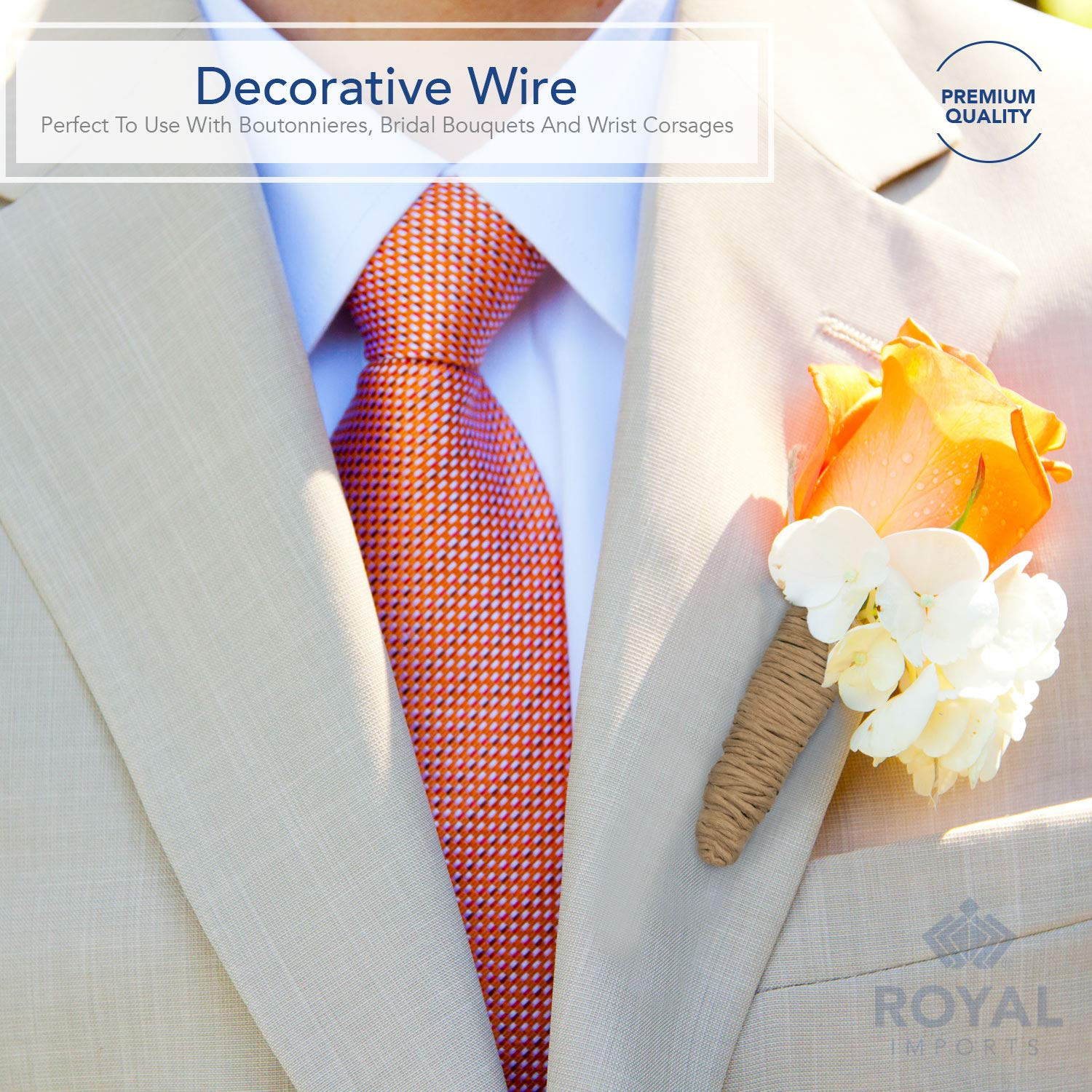 by Royal Imports Green Floral Bind Wire Wrap Twine Paper Covered Waterproof Rustic Vine for Flower Bouquets 26 Gauge 673 Ft