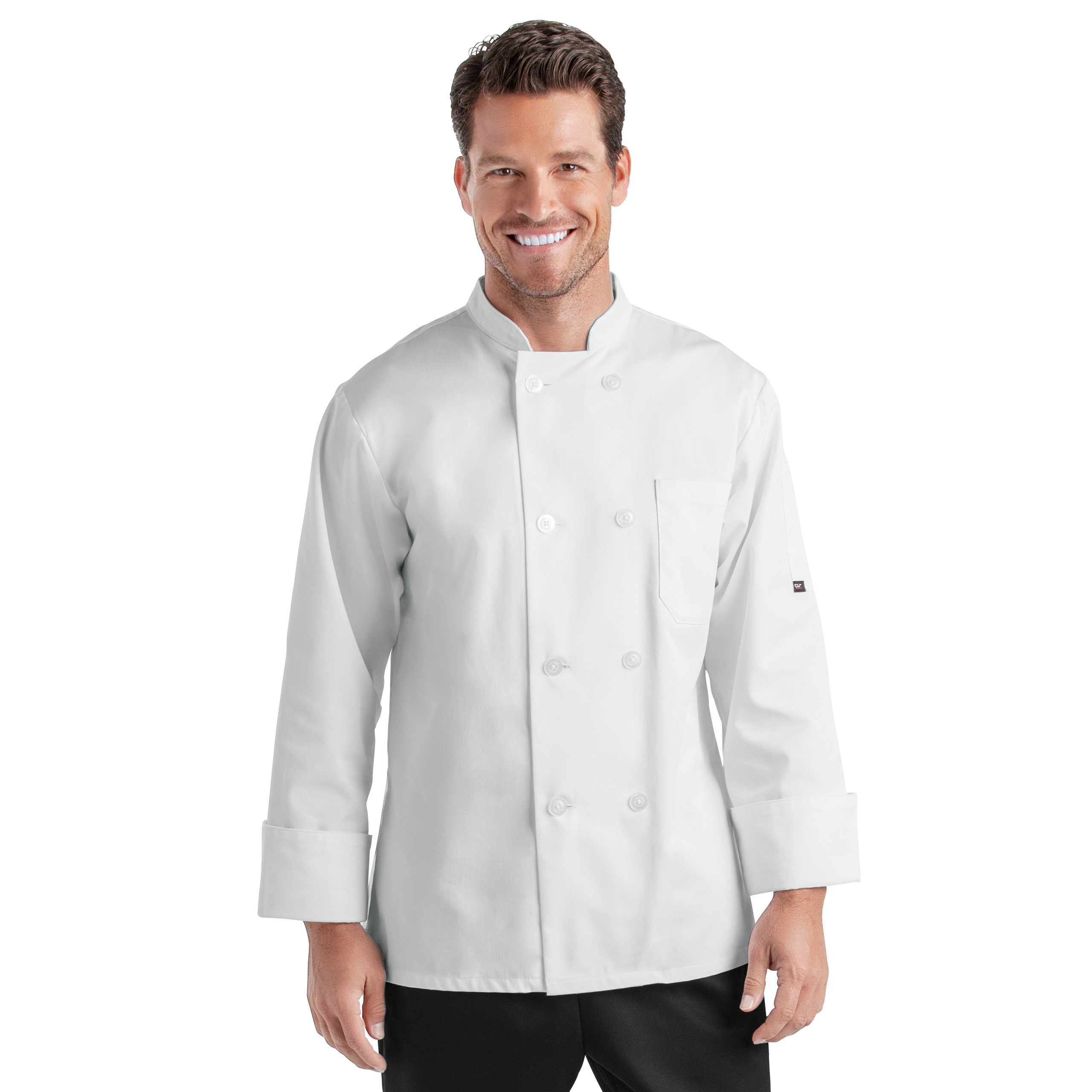 Unisex Long Sleeve Chef Coat/Double Breasted/Plastic Button Reversible Front Closure (S-2X, 2 Colors) (White, Medium) by On The Line (Image #7)