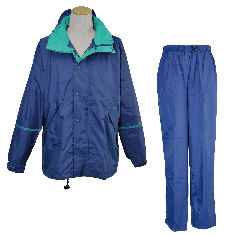 コヤナギ 【ムレないのに、濡れない。】 《防水透湿性+耐久撥水性/エントラントHP》 レインスーツ EN9200 B00KQHIJQE M|ネイビー/ターコイズ ネイビー/ターコイズ M