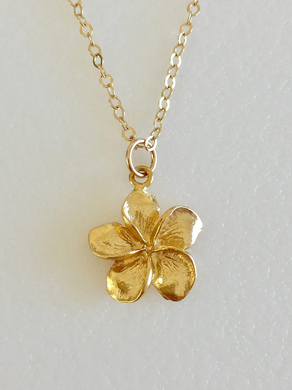 Amazon Com Plumeria Necklace Hawaiian Flower Gold Vermeil