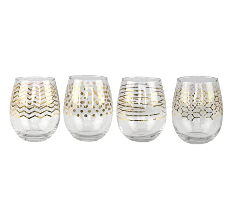 935c3a180c4 Amazon.com: Top Shelf Decorative Gold Stemless Wine Glass Variety ...