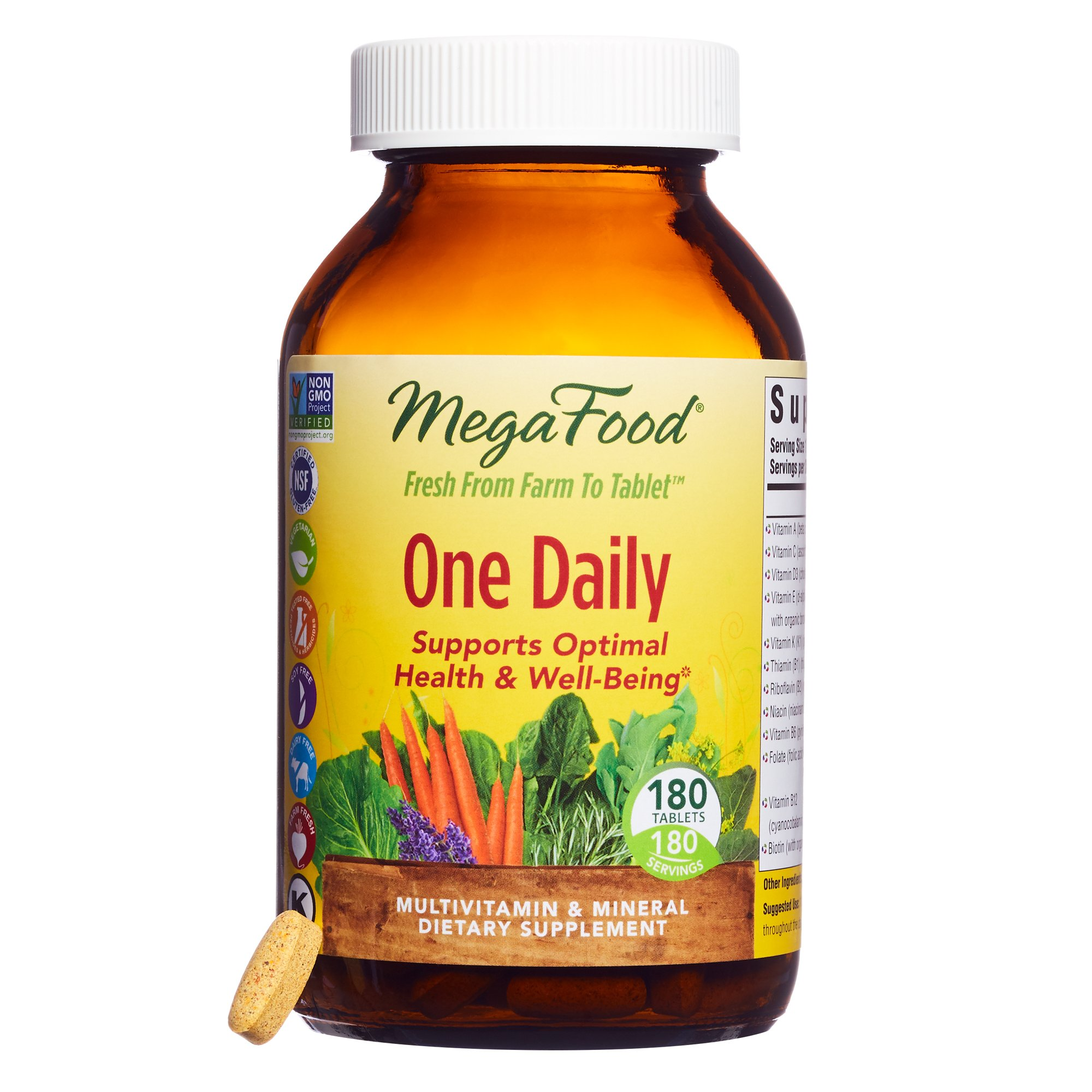 MegaFood - One Daily, Multivitamin Support for Immune and Nervous System Health, Energy Production, and Mood Balance with Folate and B Vitamins, Vegetarian, Gluten-Free, Non-GMO, 180 Count, Pack of 1