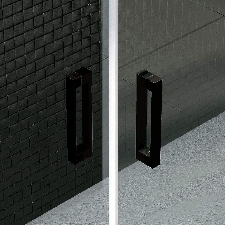 perfil NEGRO y cristal transparente con 6 mm de grosor Disponible en varias medidas 127 a 136 VAROBATH .Mampara de ducha con apertura frontal de puerta corredera