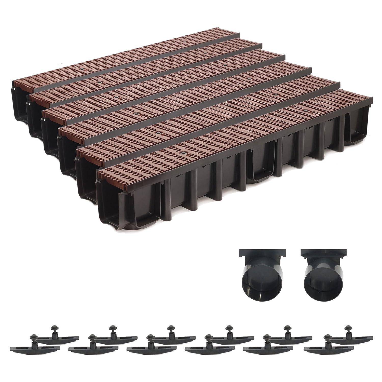 6m Entwässerungsrinne 148mm Einlaufkasten Stegrost Kunststoff inkl. Zubehör (braun)