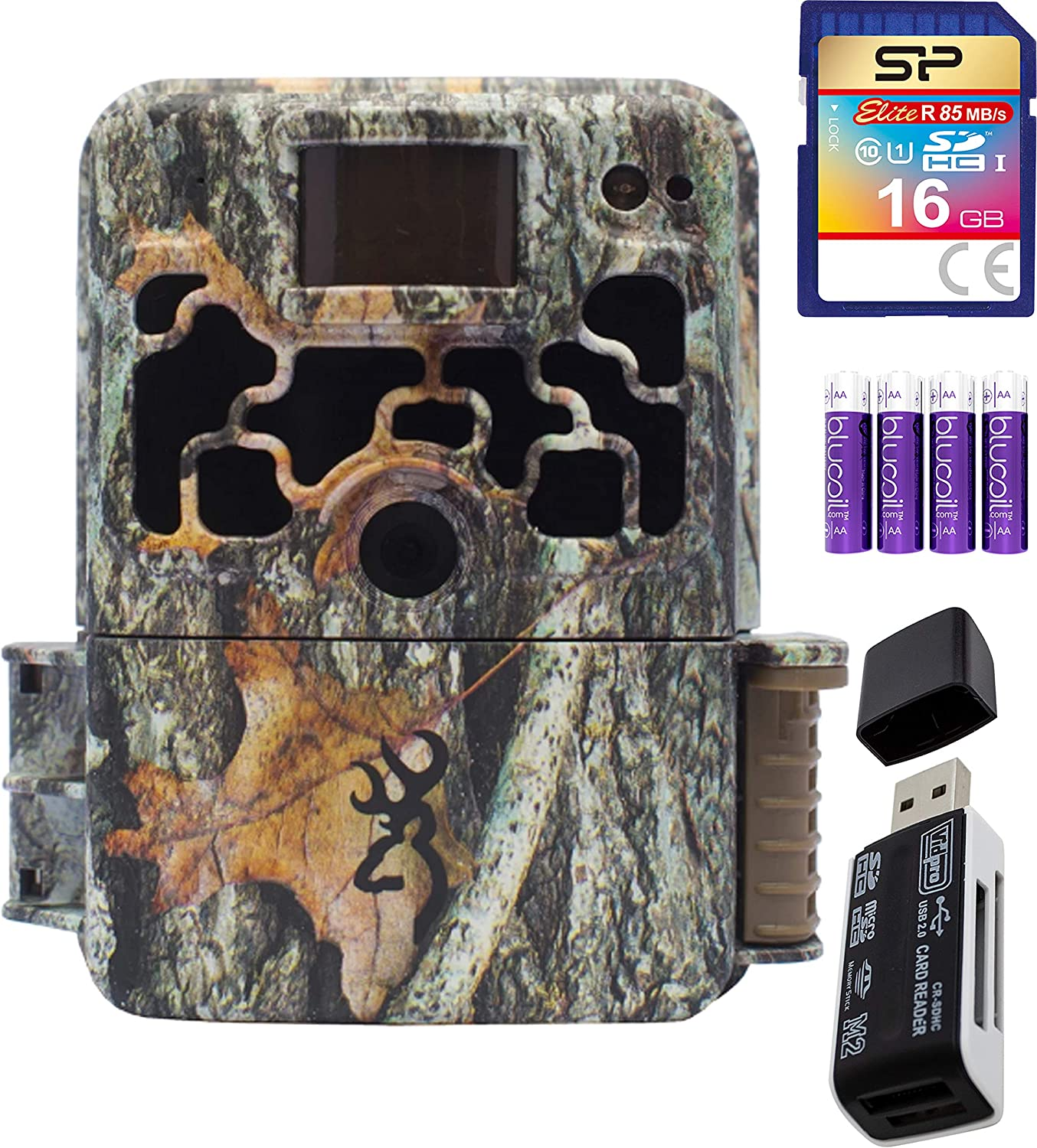 Browning Trail Cameras BTC-6HDX Dark Ops Extreme 16MP Game Cam Bundle with USB 2.0 Card Reader, Silicon Power 16GB Class 10 SDHC SD Card, and Blucoil 4 AA Batteries