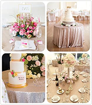 SoarDream 108 Inch Round Champagne Blush Sequin Tablecloth Elegant Table  Cloth For Wedding