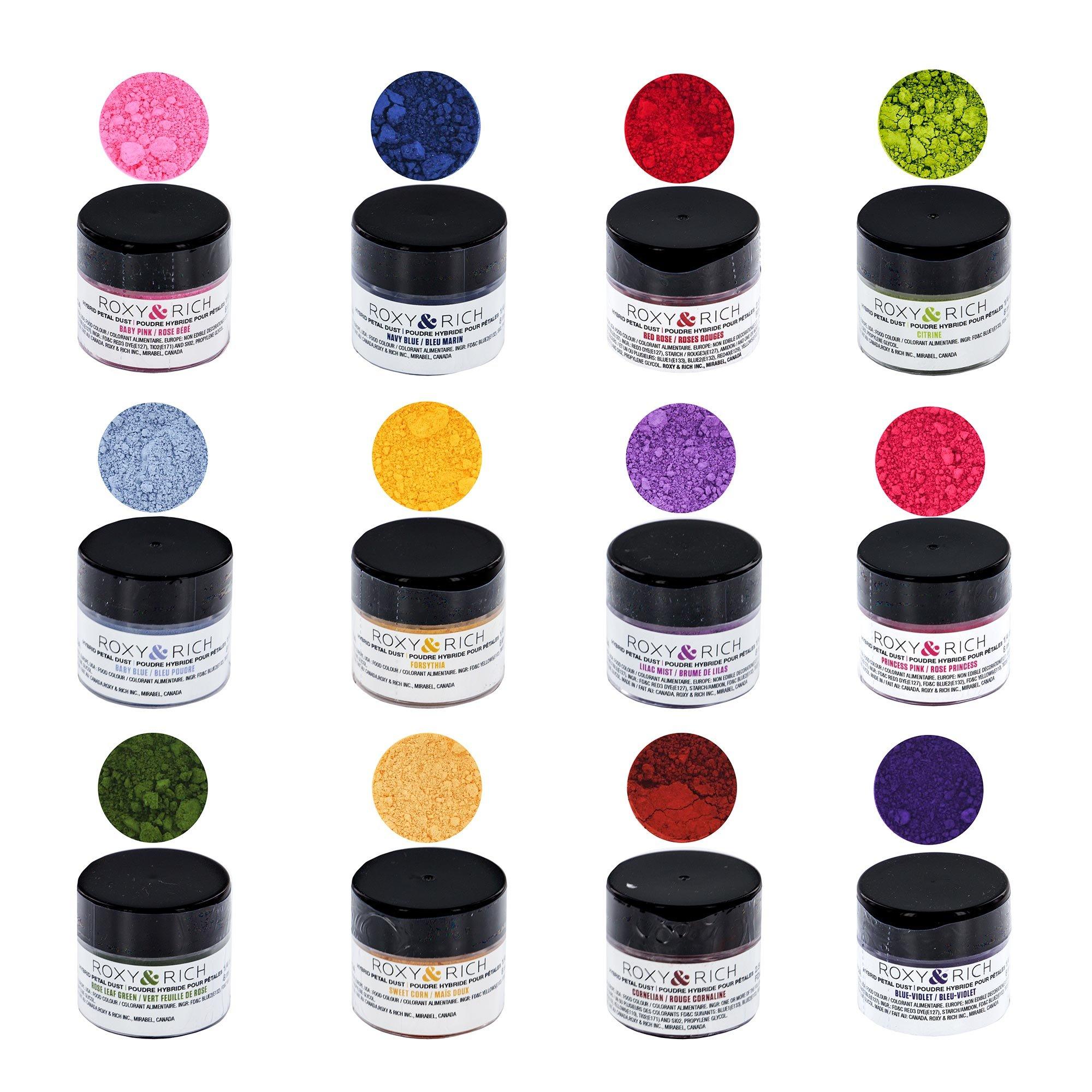 Roxy & Rich Edible Hybrid Petal Dust Professional Kit, 12 Colors by Global Sugar Art