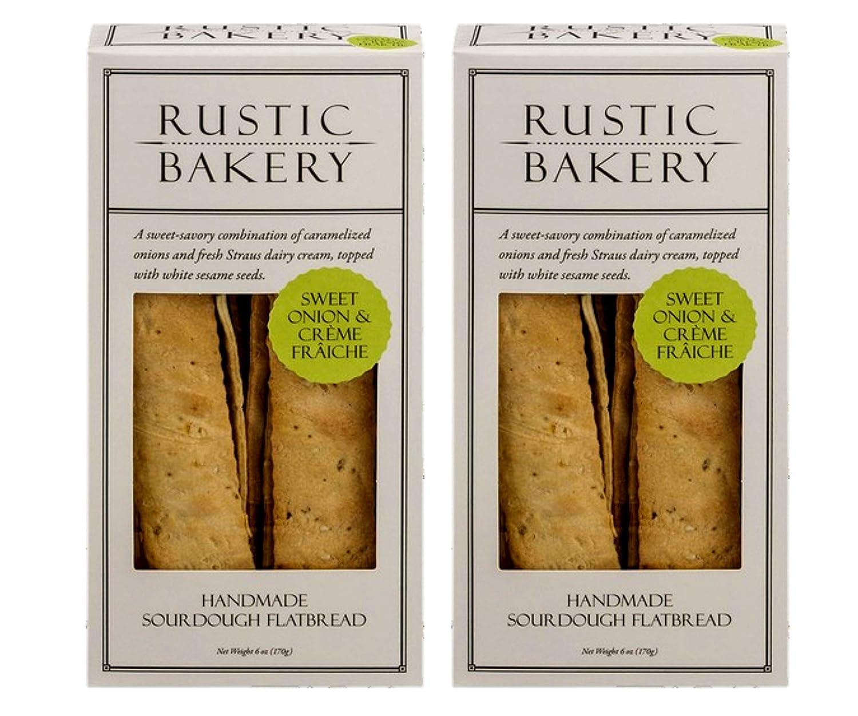Rustic Bakery Gourmet Handmade Sourdough Flatbread Sweet Onion & Creme Fraiche 6 oz. (Pack of 2)