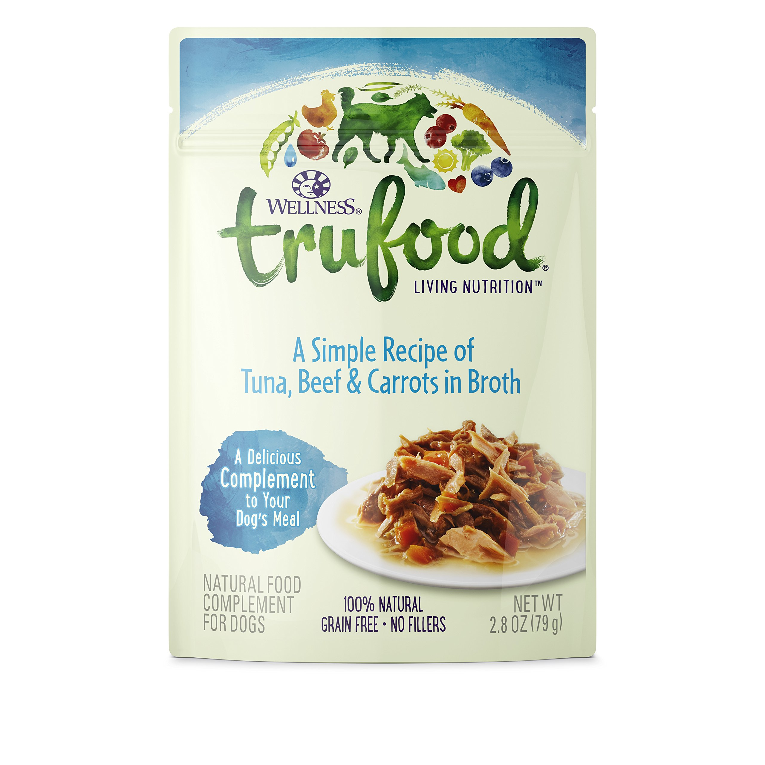 Wellness Trufood Complements Natural Grain Free Wet Raw Dog Food, Tuna, Beef & Carrots, 2.8-Ounce Pouch (Pack Of 24) by Wellness