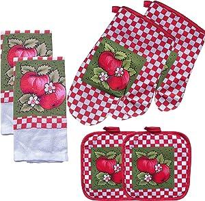 FSTIKO Fresh Apple Kitchen Linen Set Includes 2 Oven Mitt, 2 Pot Holders, 2 Kitchen Towels Dishcloths Kitchen Decor for Cooking, Baking, Barbecue(Set of 6 Piece)