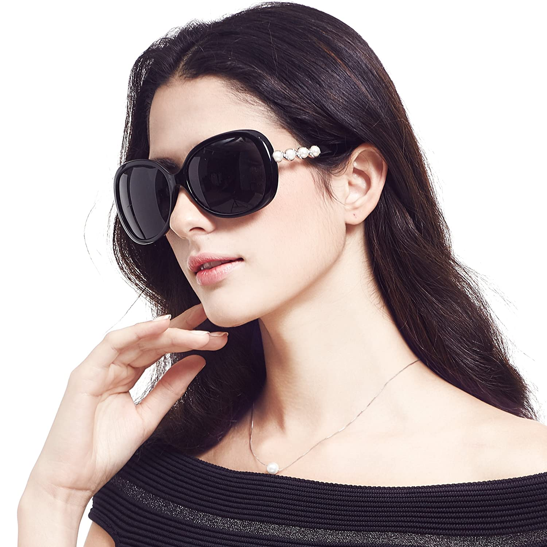 LIANSAN Womens Trendy Sunglasses Polarized Square Pearls Frame P580 C3 brown P580C3