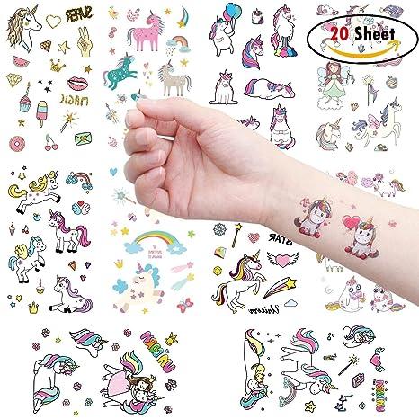 Clerfy Acc 500pcs Unicornio Tatuajes temporales Falso Tatuajes Pegatinas para Niños Niñas Fiestas Infantiles Unicornio Cumpleaños de Niños Regalo ...