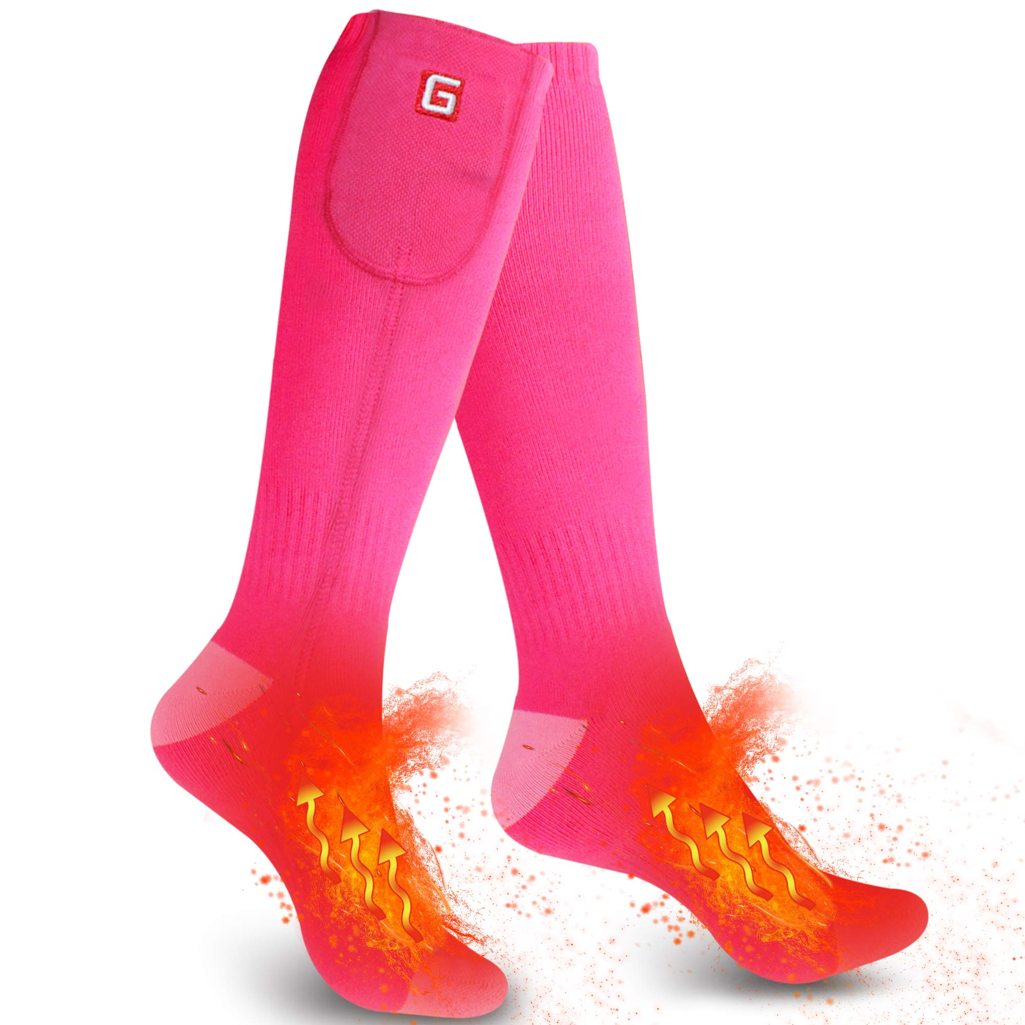Autocastle Rechargeable Electric Heated Socks,Men Women Battery Powered Heated Socks Kit,Winter Warm Thermal Heated Socks for Chronically Cold Feet,Novelty Sports Outdoors Camping Hiking Socks (Pink) by Autocastle