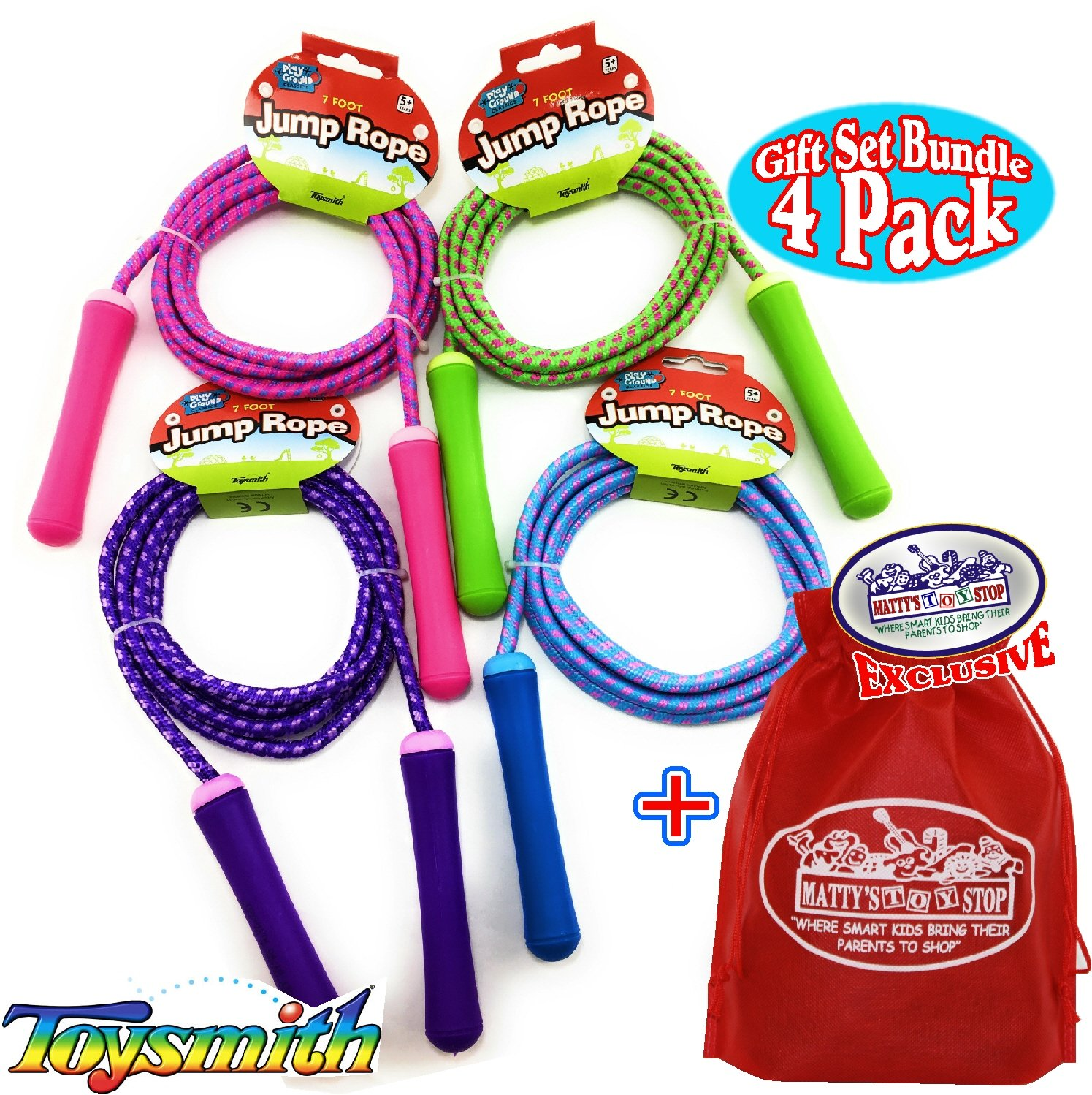 Toysmith Jump Ropes 7-Foot (7') Pink, Green, Purple & Blue Gift Set Party Bundle with Bonus Matty's Toy Stop Storage Bag - 4 Pack