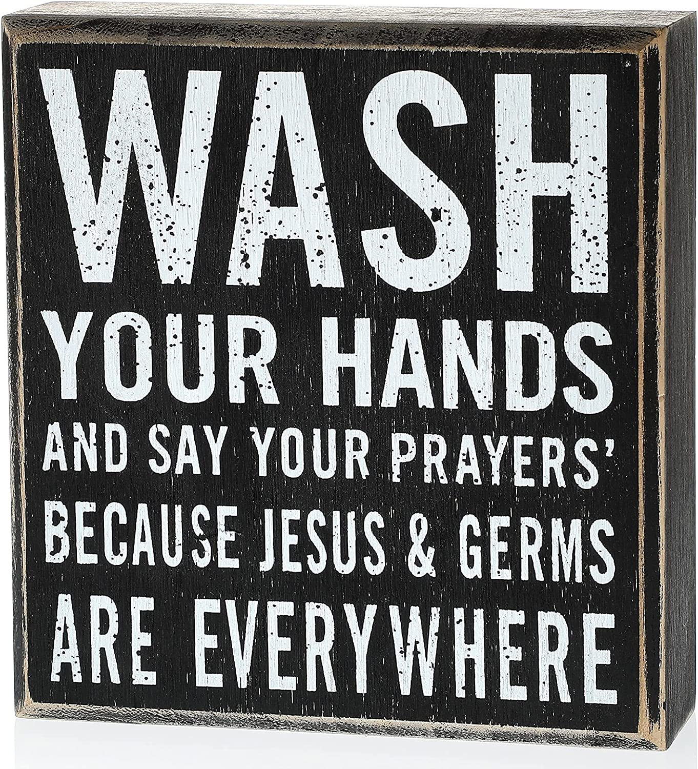 Jetec Wash Your Hands Wooden Sign Classic Black and White Box Sign Wood Plaque with Inspiring Quotes, Wall and Tabletop Decoration, 6 x 6.3 x 1.8 Inch