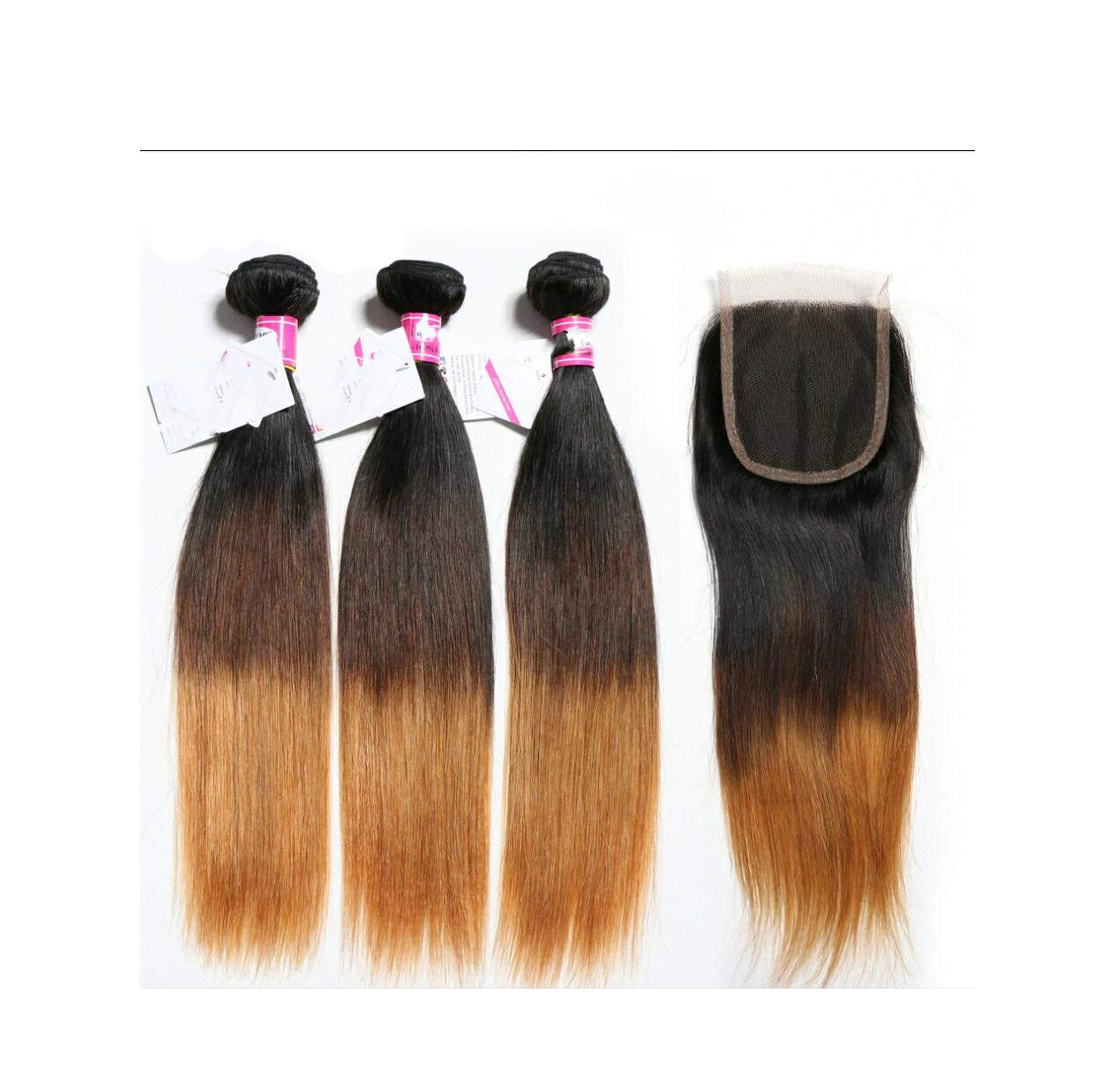 3 Bundles Brazilian Straight Human Hair Bundles With Closure Weave 1b/4/27 4x4 Free Part Remy Blonde Lace Closure Little cute shop,18 18 20 & Closure16,T1B/4/30,Middle Part