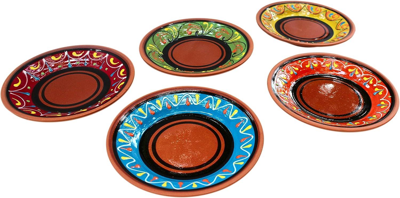 Cactus Canyon Ceramics Spanish Terracotta 5-Piece Small Tapa Plate Set, Multicolor