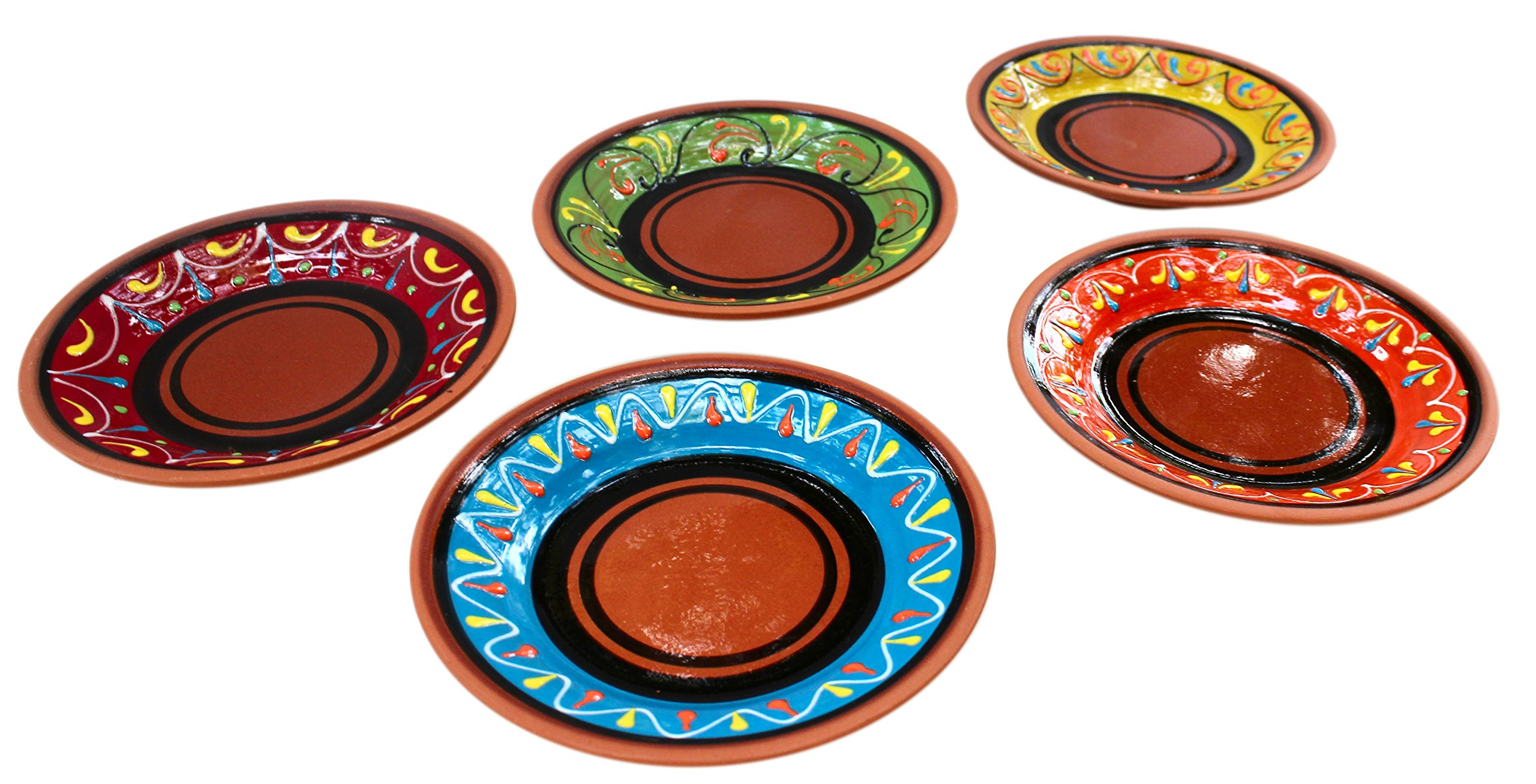 SMALL, Terracotta Tapa Plates Set of 5 - Hand Painted From Spain