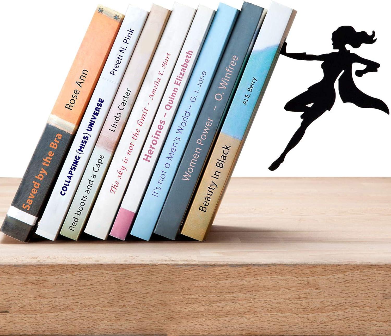 Amazon Com Artori Design Book Ends Black Metal Superhero Bookend Unique Gifts For Women Cool Heroine Book Stopper Book Holder For Girls Feminist Gift Supergal Book End