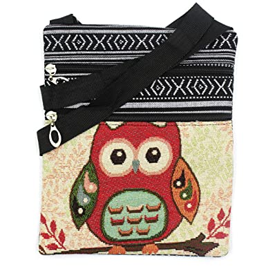 897c44b1b7 Cuddty Women Canvas Zipper Messenger Bag Ladies Girls Cute Owl Printed  Linen Shoulder Bag Stachel Bohemian Crossbody Bag  Amazon.co.uk  Clothing