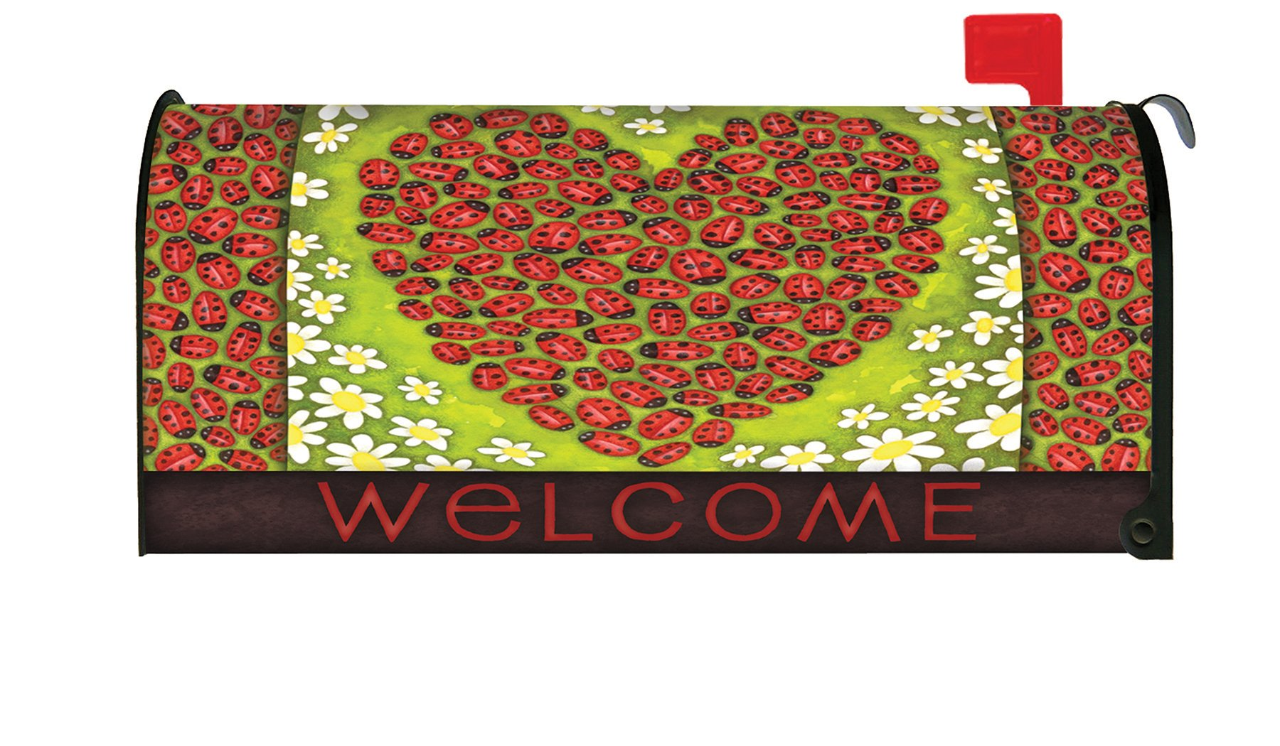 Toland Home Garden Ladybug Heart Colorful Spring Welcome Bug Magnetic Mailbox Cover