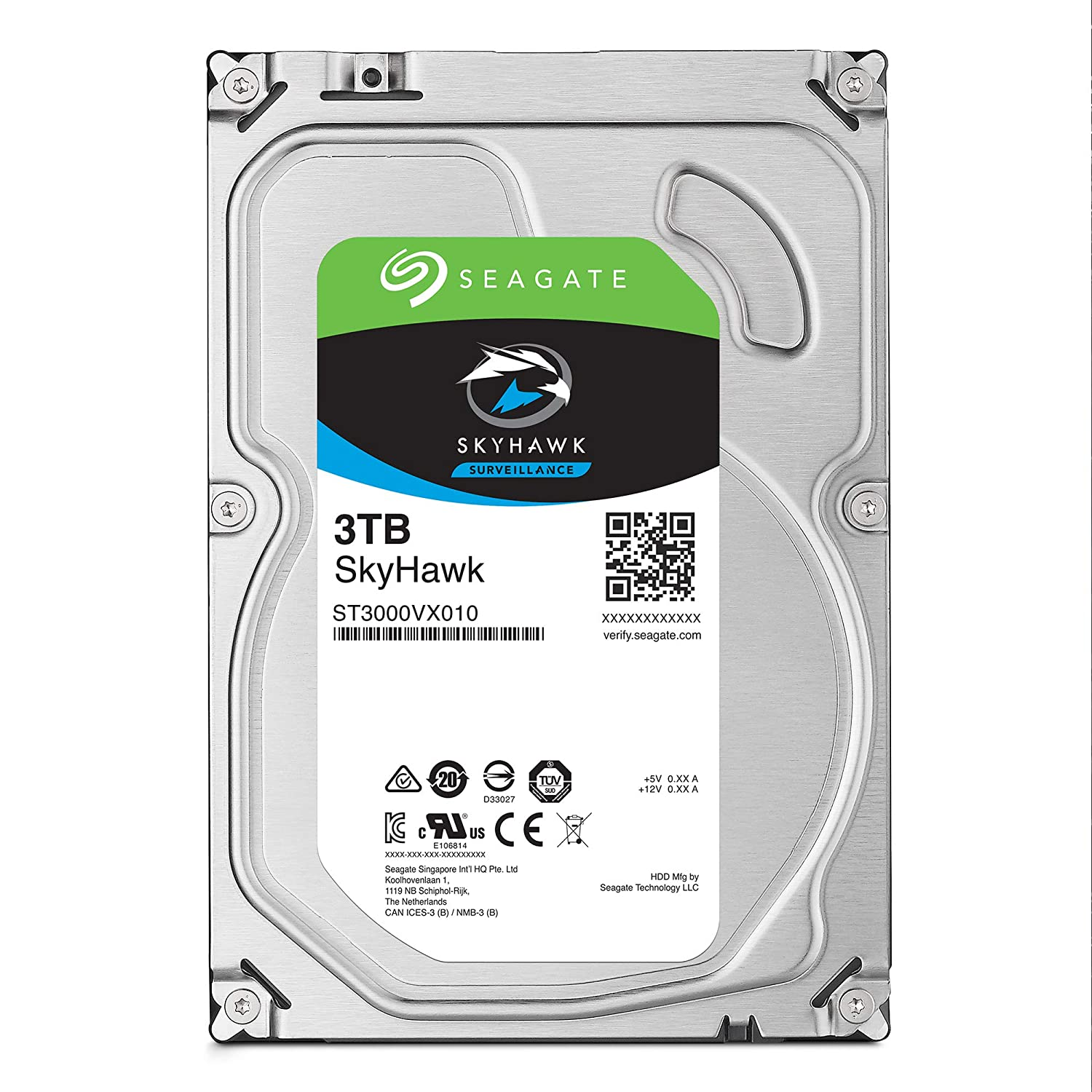 Seagate Skyhawk 3TB Surveillance Internal Hard Drive HDD – 3.5 Inch SATA 6Gb/s 64MB Cache for DVR NVR Security Camera System with Drive Health Management – Frustration Free Packaging (ST3000VX009)