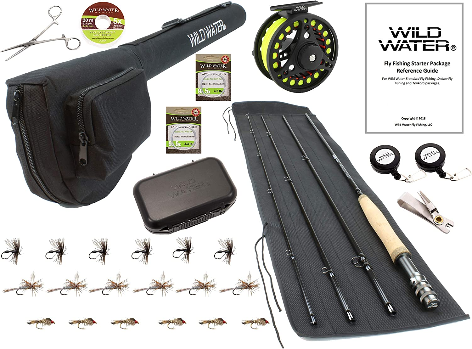 Wild Water Fly Fishing 9 Foot, 4-Piece, 5/6 Weight Fly Rod Deluxe Complete Fly Fishing Rod and Reel Combo Starter Package