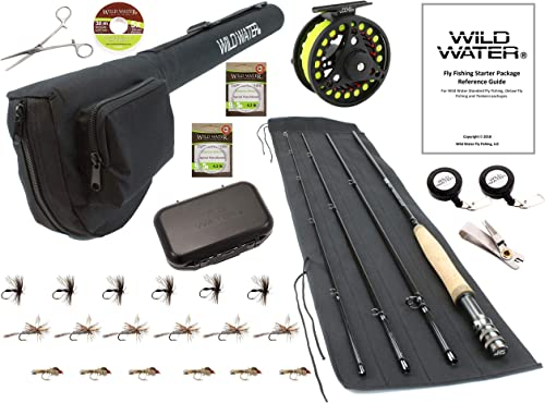 Wild Water Fly Fishing 9 Foot, 4-Piece, 5 6 Weight Fly Rod Deluxe Complete Fly Fishing Rod and Reel Combo Starter Package