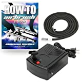 PointZero Mini Airbrush Compressor - Portable Hobby Oil-Less Air Pump with Hose