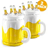 """18"""" Inflatable Cooler, Beer Cooler for Parties, Luau Party Supplies for Adults 2 Pack Summer Party Decorations, Inflatable Beer Mug for Beach Pool Parties, Inflatable bar Cooler (2 Pack)"""