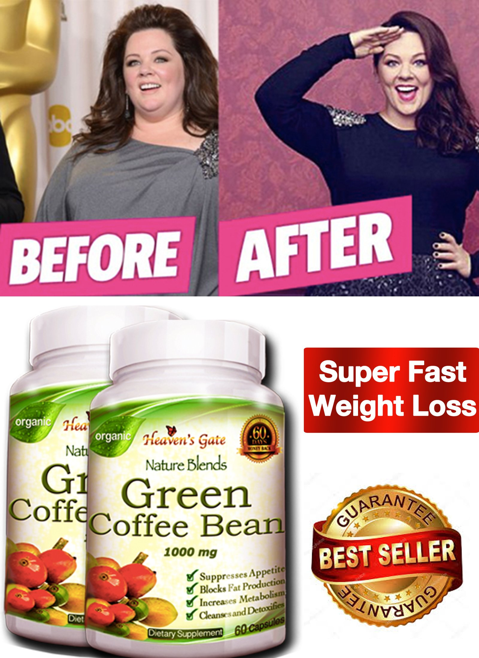 100% Pure Green Coffee Bean Extract - 120 Capsules - Max Strength Natural GCA Antioxidant Cleanse for Weight Loss, 1000mg w/ 50% Chlorogenic Acid per Pill, 1600mg Daily Supplement, Healthy...