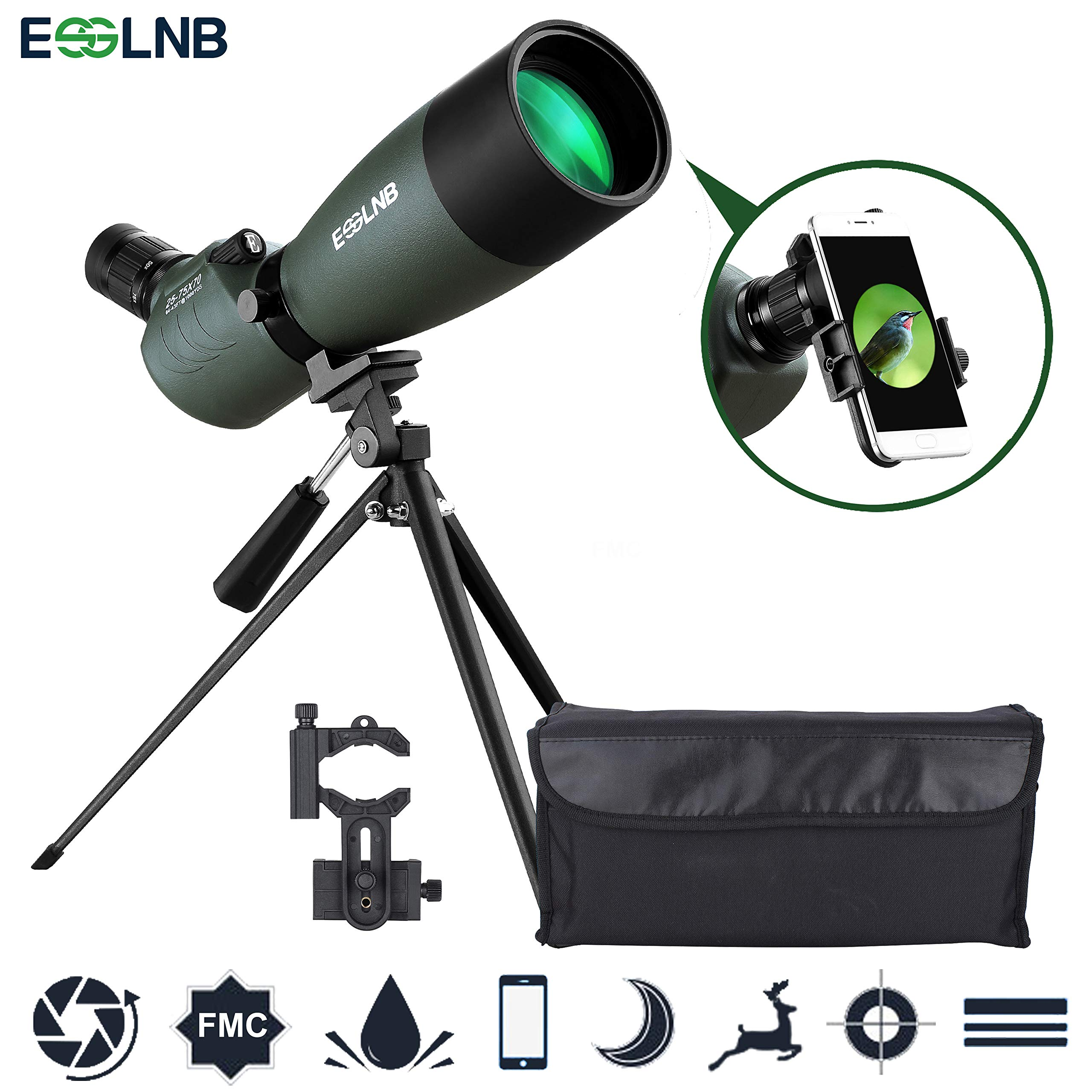ESSLNB Spotting Scope with Tripod Phone Adapter BAK4 Prism 25-75 X 70 Angled Waterproof Spotting Scopes for Target Shooting Bird Watching Hunting by ESSLNB