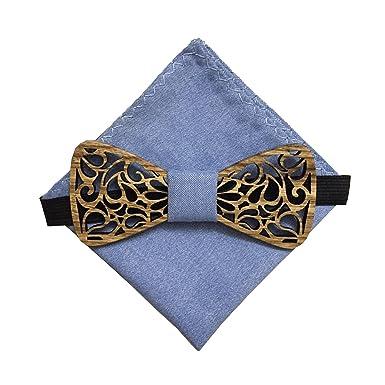 [Garantía de por vida ]Corbatín de madera hecho a mano con tela arabesca Ecume azul y pañuelo de bolsillo: Amazon.es: Ropa y accesorios