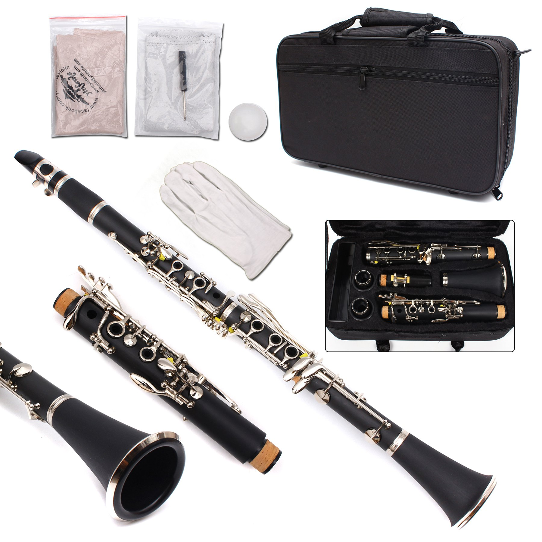 Yinfente Professional B Flat Clarinet Ebonite Wood 2 Barrels With Case Cloth Reed Accessories (Black)