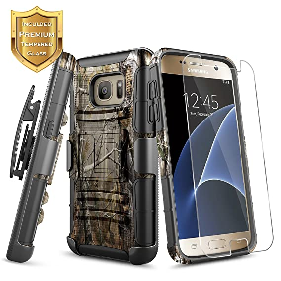 more photos bb77e 6e0ad Galaxy S7 Case with [Tempered Glass Screen Protector], S7 Holster Case,  NageBee [Heavy Duty] Armor Shock Proof [Swivel Belt Clip] Holster  [Kickstand] ...
