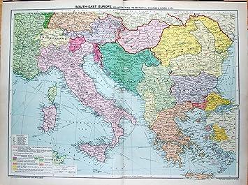 Carte Italie Et Sardaigne.1935 Carte L Europe Italie Sardaigne Crete Sicile Bulgarie Amazon