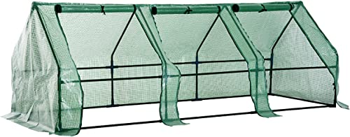 Outsunny Portable Mini Greenhouse with Large Zipper Doors, 9 L x 3 W x 3 H, Waterproof UV Protected Cover, Green