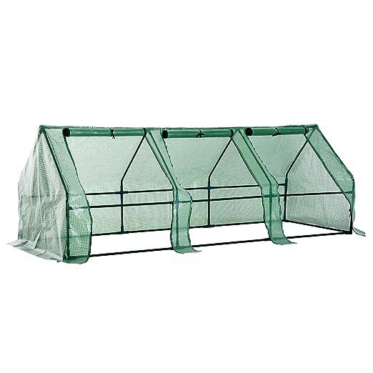 Homcom Invernadero Pequeño con Ventanas - Color Verde - Tubos de Acero y PE 140 g/m2-270x90x90cm: Amazon.es: Hogar