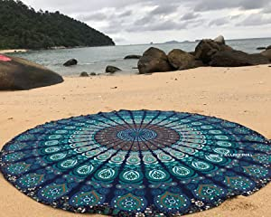 raajsee Round Beach Tapestry Hippie/Boho Mandala Beach Towel Blanket Indian Cotton Bohemian Round Table Cloth Mandala Decor/Yoga Mat Meditation Picnic Rugs 70 inch Circle (Blue Mandala)