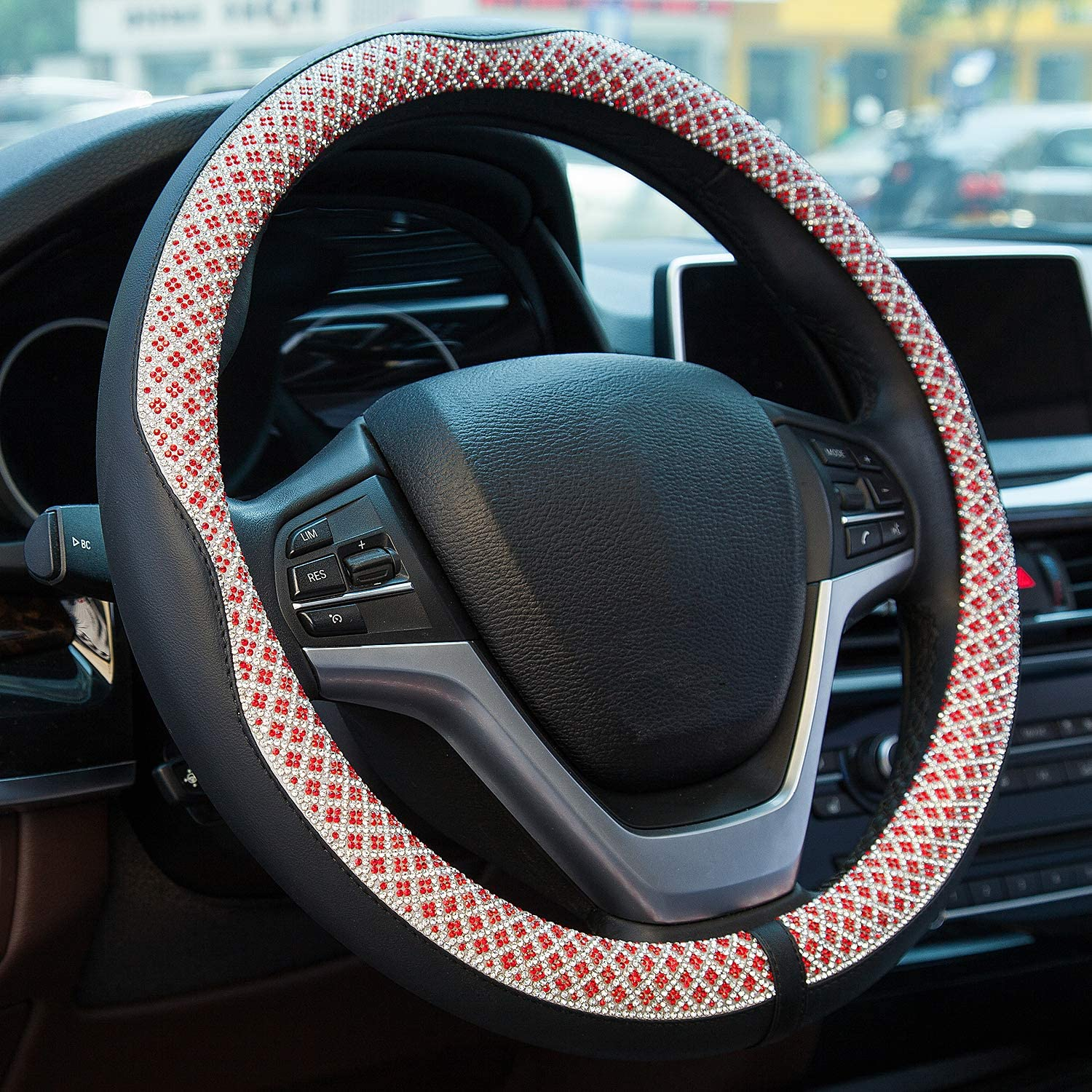 Valleycomfy Universal 15 inch Diamond Crystal Leather Steering Wheel Cover for HRV CRV Accord Corolla Prius Rav4 Tacoma Camry X1 X3 X5 335i 535i,etc Red